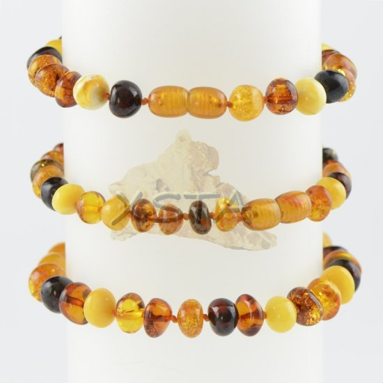 Baltic amber beads multi-colour clasp