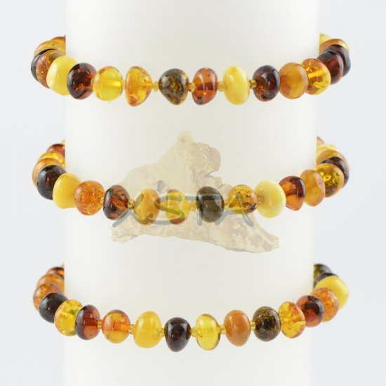 Baltic amber beads bracelet multi-colour polished