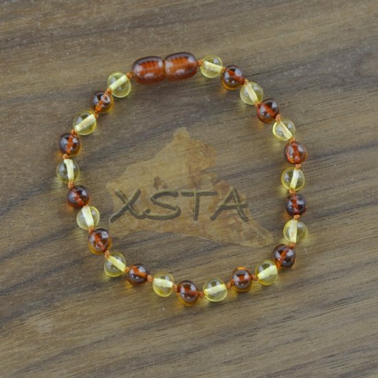 Amber polished natural beads bracelet Baroque