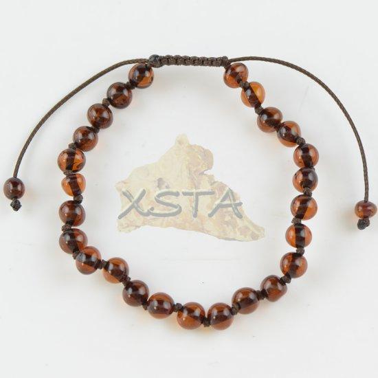 Adults adjustable amber bracelet cherry color