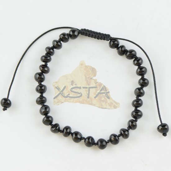 Adults adjustable amber bracelet black color