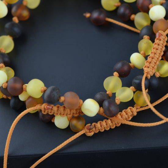 Womens adjustable amber bracelet raw mix color