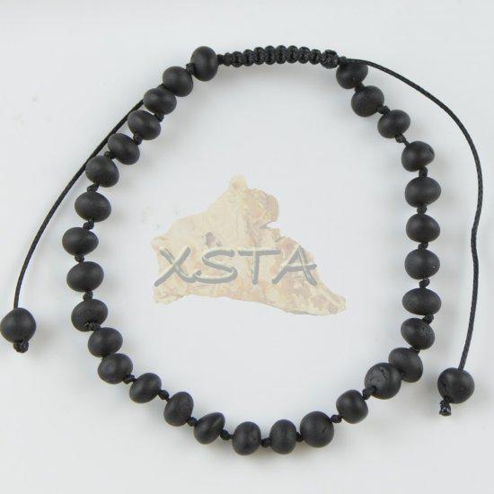 Womens adjustable amber bracelet raw black color