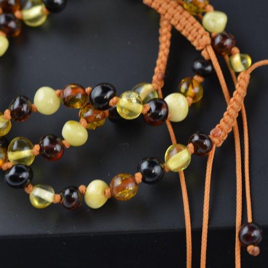 Womens adjustable amber bracelet multicolor color