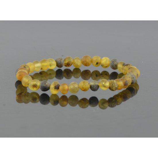 Amber bracelet baroque green raw women
