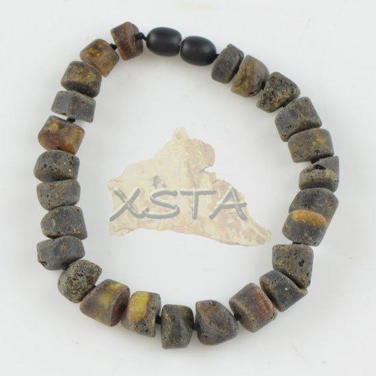 Amber bracelet raw dark green beads for men