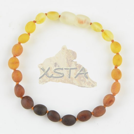 Multicolored olive raw amber bracelet for adults