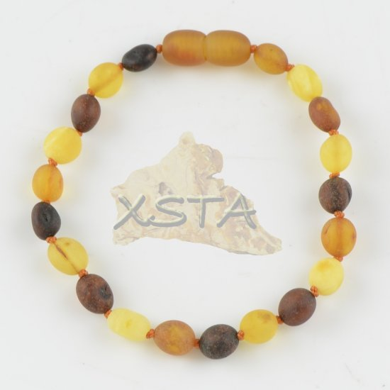 Amber bracelet mix olive raw beads with clasp