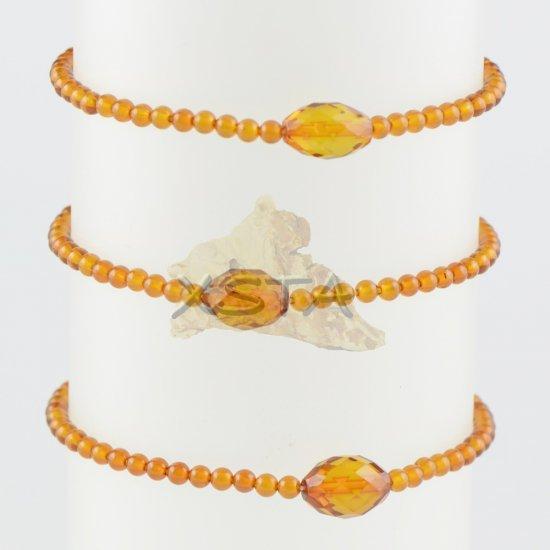 Amber bracelet Small bracelet cognac color