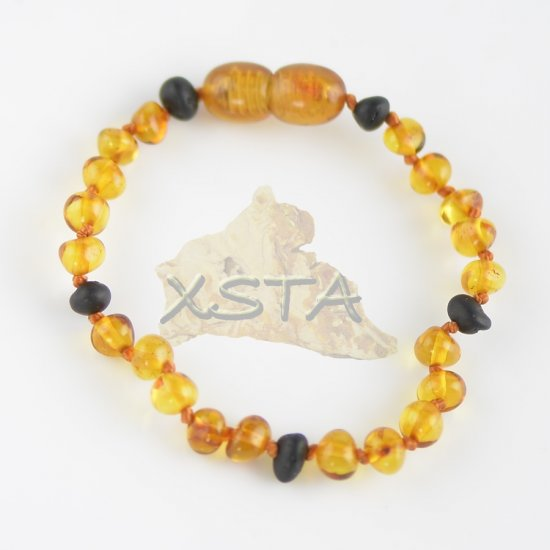 Cognac baroque bead bracelet with raw cherry beads