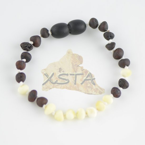 Raw baroque dark cherry necklace with white beads