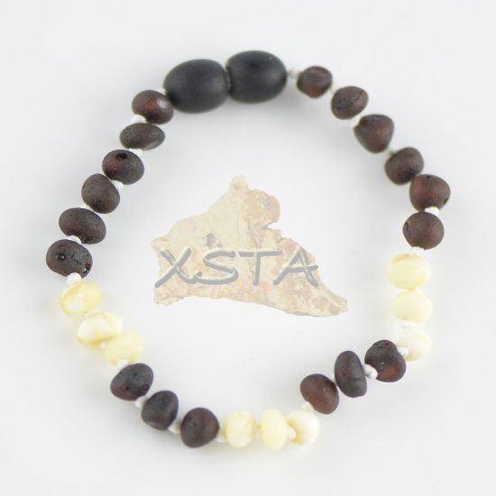 Raw dark cherry baroque bead bracelet with white beads