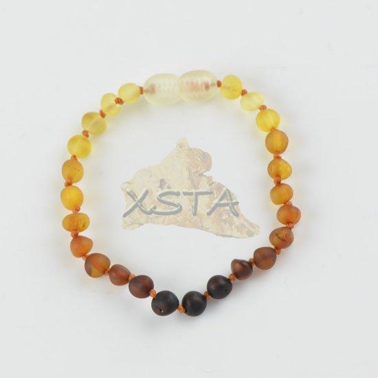 Baltic amber teething bracelet rainbow color
