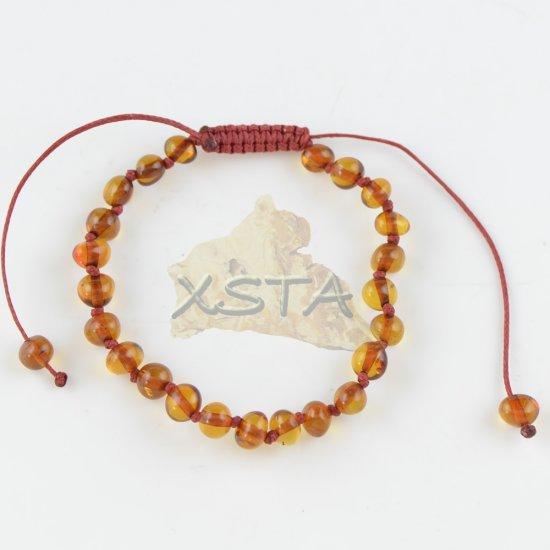 Adjustable teething bracelet cognac color