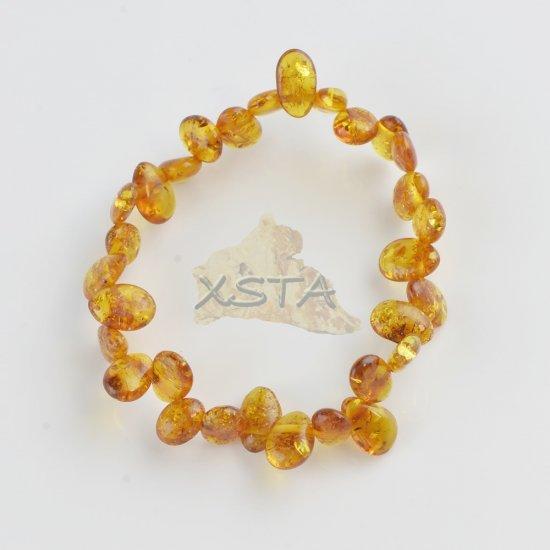 Cognac leave shape amber bracelet
