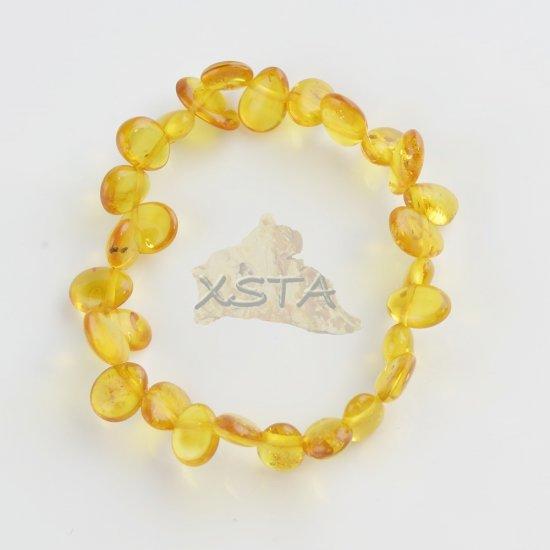 Honey polished leave shape amber beads bracelet