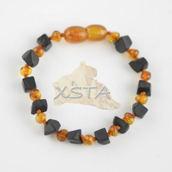 Cognac baroque beads bracelet with raw irregular