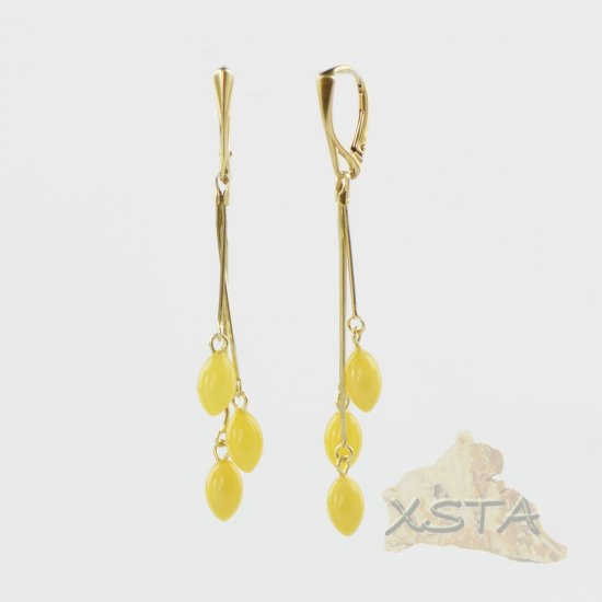 Amber earrings with Butter Color beads