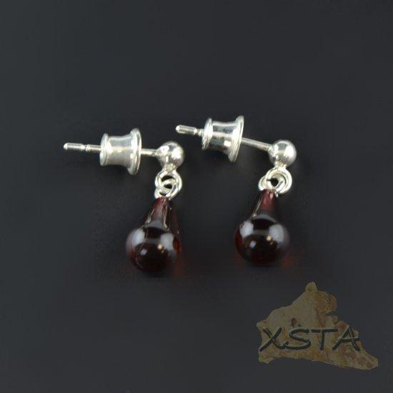Drop shape amber earrings cherry color