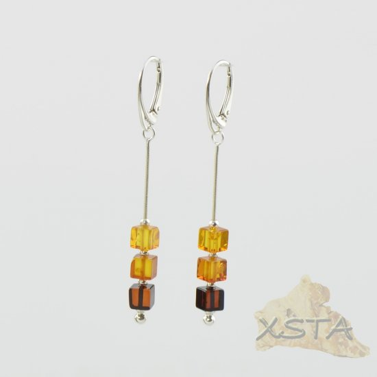 Amber earrings multicolor beads