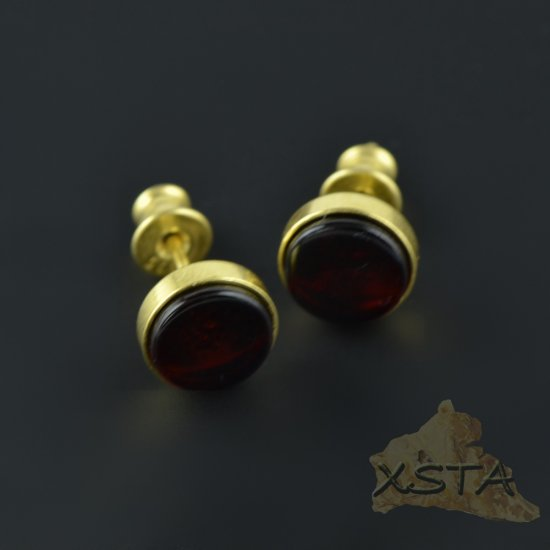 Stud amber earrings with Cherry color