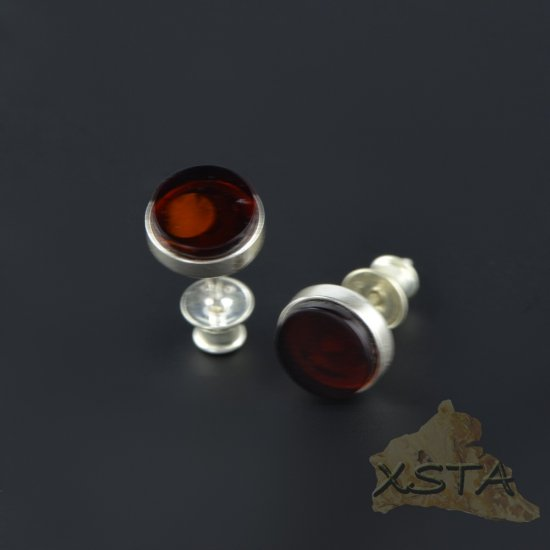 Stud amber earrings with silver