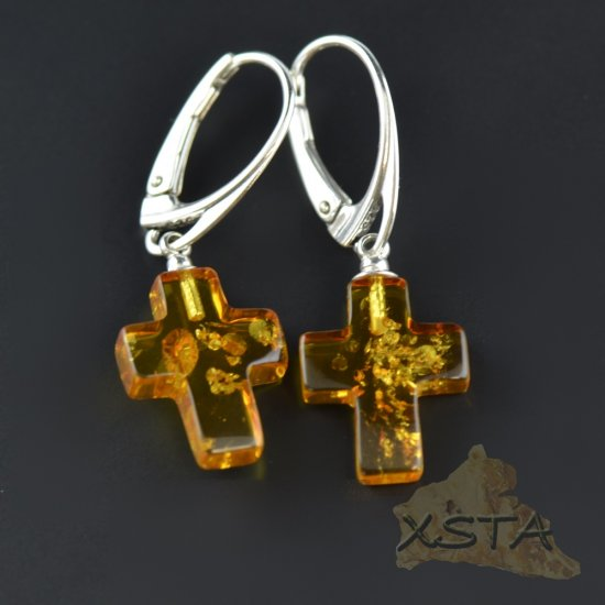 Cross cognac amber earrings with silver