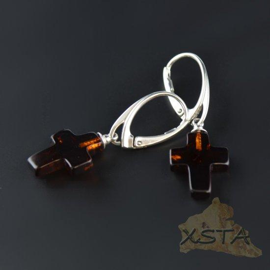 Cross amber earrings with silver