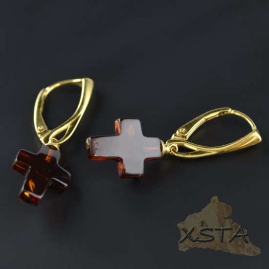 Cross amber earrings with silver-gold