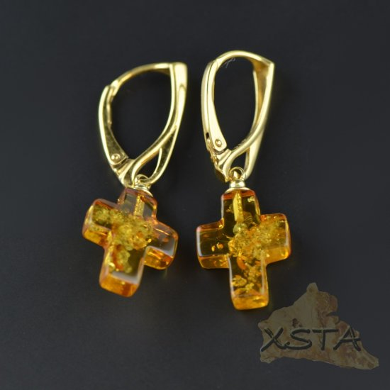 Cross Baltic amber earrings with silver