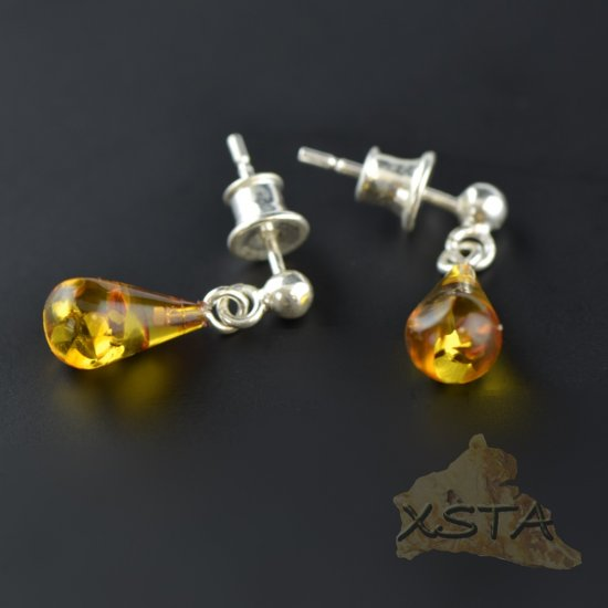 Drop shape amber earrings cognac color