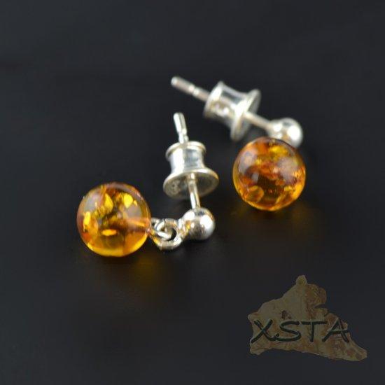 7mm Round amber earrings