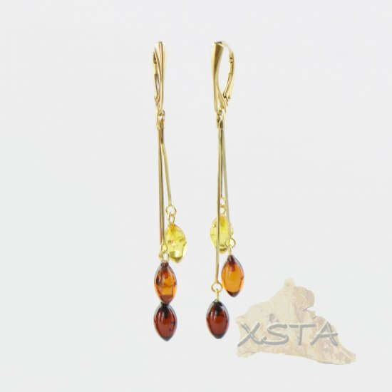 Amber earrings with silver-gold metal beads