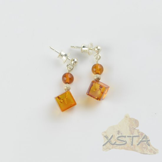Natural Amber earrings with silver 925