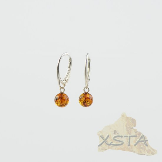 Round Amber earrings with silver 925