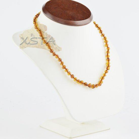 Amber necklace baroque dark cognac