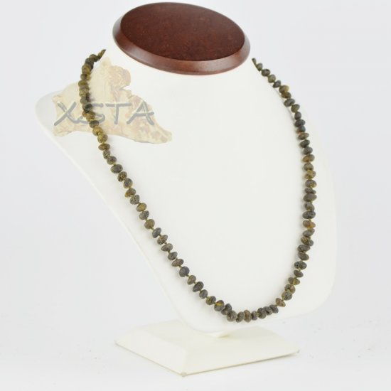 Amber necklace raw green For men