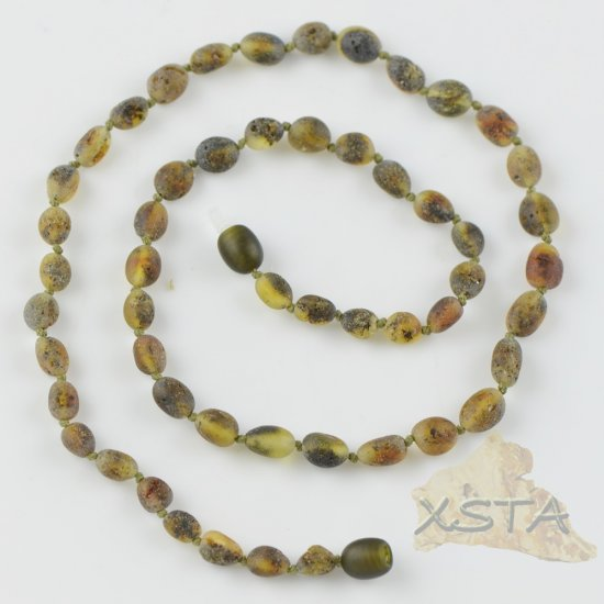 Amber necklace raw light green color