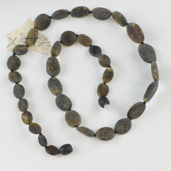 Amber necklace raw unpolished olive new