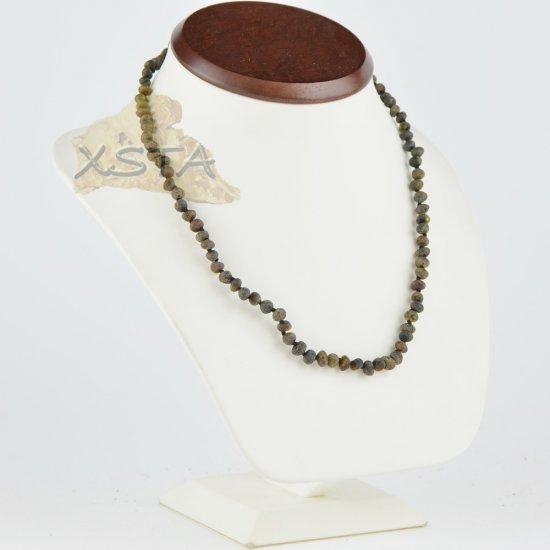 Amber necklace raw unpolished olive new