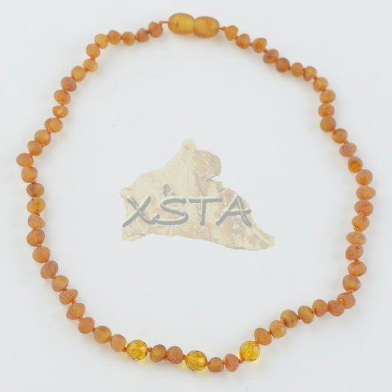 Amber necklace for babies with round beads