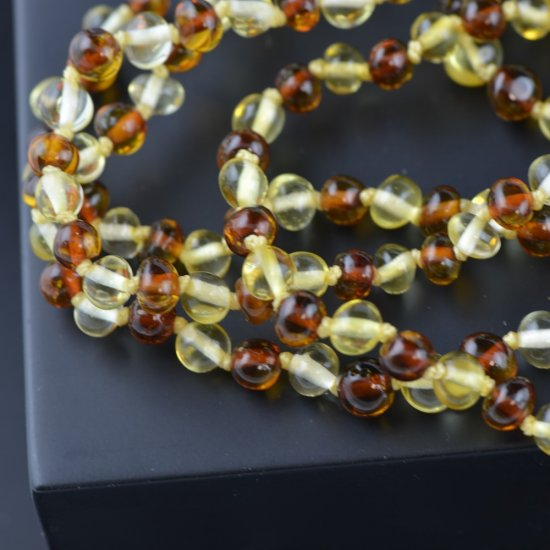 Amber necklace for girls or boys polished beads