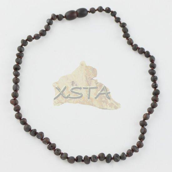 Amber necklace raw baroque  dark cherry