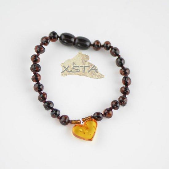 Cherry baroque bead bracelet with cognac heart