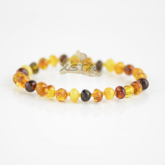 Multicolored baroque beads bracelet with seed beads