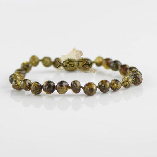 Dark green baroque beads bracelet with knot