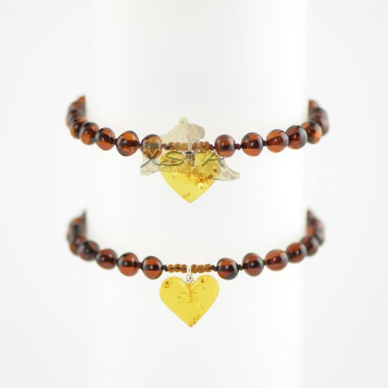 Light cherry baroque bead bracelet with cognac heart
