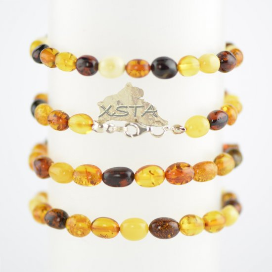 Multicolored olive beads bracelet with silver clasp