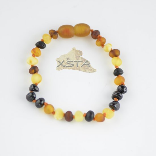 Raw cognac and white bead necklace with polished cherry