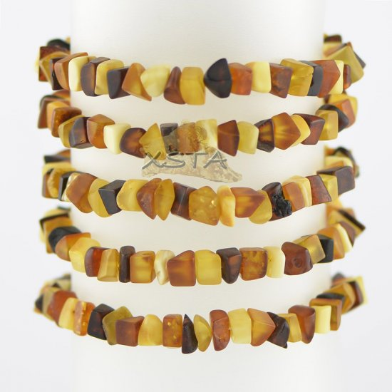 Raw multicolored irregular bead bracelet for men